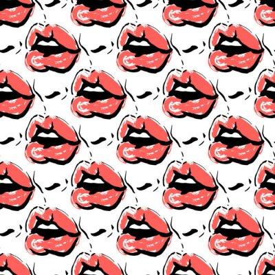 Tapeta Bold czerwone usta pełne pocałunków