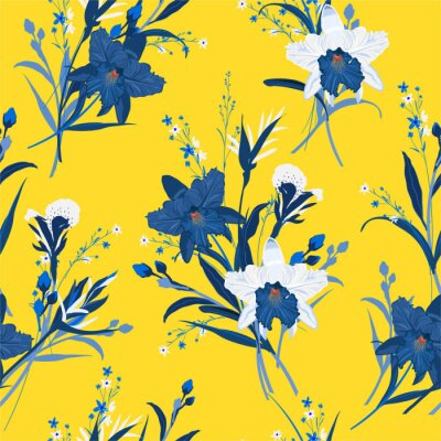 Tapeta Bouquet of orchid flower seamless pattern in hand drawn vector wild garden background, design for fashion,fabric,web,wallpaper and all prints