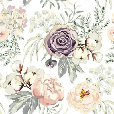 Tapeta Bouquets with violet roses and pink peonies with gray leaves on the white background. Watercolor vector seamless pattern. Romantic garden flowers. Elegant illustration.