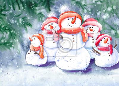 Tapeta Boże Narodzenie bałwan rodzina pod śniegiem. Akwarela ilustracja.