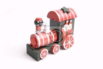 Boże Narodzenie, drewniane zabawki pociągu