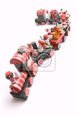 Boże Narodzenie, drewniane zabawki pociągu na białym tle