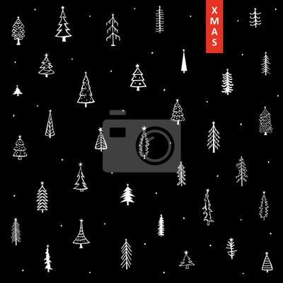 Tapeta Boże Narodzenie tło z ładny wyciągnąć rękę wyciągnąć choinki sosnowe i gwiazdy w kolorze białym na czarnym tekstury