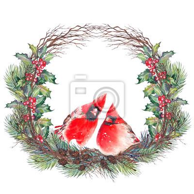 Tapeta Boże Narodzenie wieniec z ptaków północnego kardynała, czerwone jagody ostrokrzewu, liście, gałęzie sosnowe, szyszki, suche gałązki. Akwarela na białym tle.