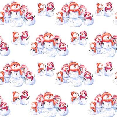 Tapeta Boże Narodzenie wzór z cute bałwana familly. Akwarela na białym tle.