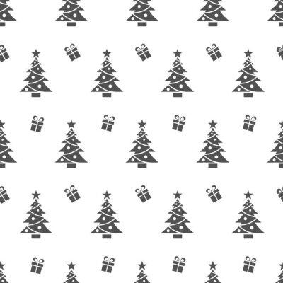 Tapeta Bożenarodzeniowy bezszwowy wzór z czarnymi drzewami i prezentami na białym tle