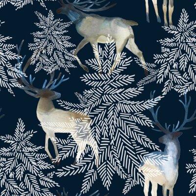 Tapeta Bożenarodzeniowy bezszwowy wzór z deers. Ilustracja akwarela zimowego lasu.