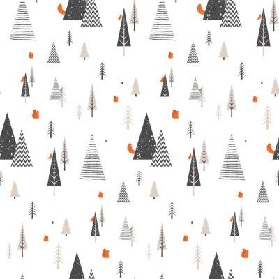 Tapeta Bożenarodzeniowy zima lasu krajobraz z lasowymi zwierzętami. wzór. Streszczenie ilustracji wektorowych