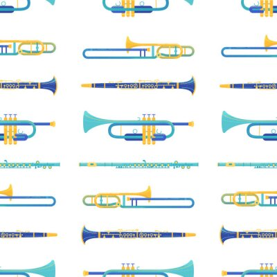 Tapeta Brass and windwood instruments vector seamless pattern