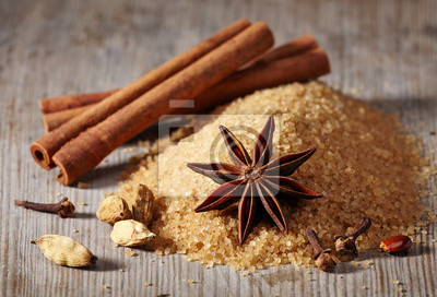 Tapeta Brązowy cukier i przyprawy