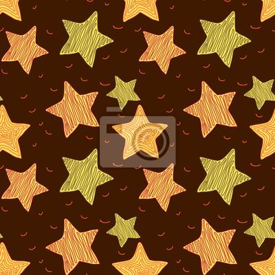 Brązowy tła z wylosowanych gwiazdkowych