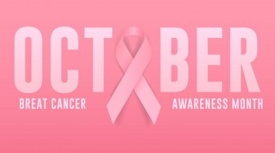 Tapeta breast cancer awareness month, breast cancer day modern banner, sign, design concept, template, social media post with pink ribbon.