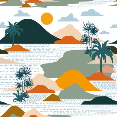 Tapeta Bright and colorful silhouette of island , palm tree,beach,mountain on modern paper cut style seamless pattern vector design for fashion,fabric,and all prints