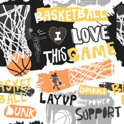 Tapeta Bright seamless pattern for basketball. Hand drawing sport print, background, typography slogan. Print design for T-shirts, clothes, banners, flyers. Sketch, grunge style.