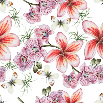Tapeta Bright seamless pattern with flowers. Plumeria. Orchid. Butterfly.  Watercolor illustration.