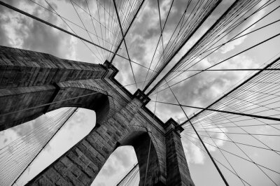 Tapeta Brooklyn Bridge New York City close up architectural detail in timeless black and white