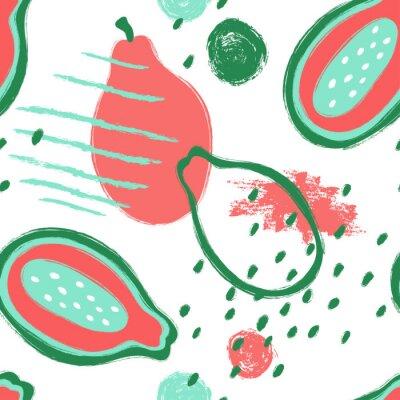 Tapeta Brush Grunge Papaja Seamless Pattern.