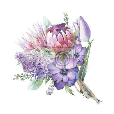 Tapeta Bukiet kwiatów akwarela. Ręka malująca botaniczna ilustracja z bzem, protea kwitnie, tulipan, anemony odizolowywający na białym tle. Kwiatowe grafiki