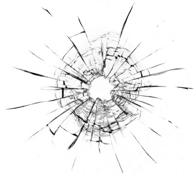 Tapeta Bullet hole in the glass. Isolated on a white background.