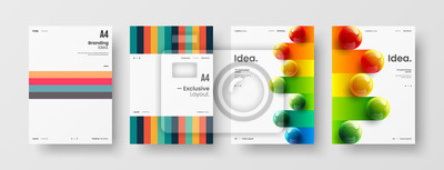 Tapeta Business presentation vector A4 vertical orientation front page mock up set. Corporate report cover abstract geometric illustration design layout bundle. Company identity brochure template collection.