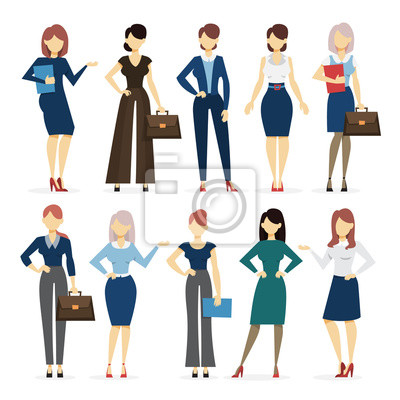 Tapeta Businesswoman in various suit set. Collection of female