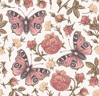 Tapeta Butterflies peacock moths insect fly. Flowers seamless pattern Blooming roses agrostemma realistic isolated. Vintage fabric background. Wildflowers Drawing engraving Vector victorian Illustration
