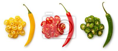 Całość i siekający kolorowi chili pieprze