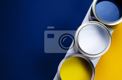 Tapeta Cans of paint on a background of yellow and classic blue.