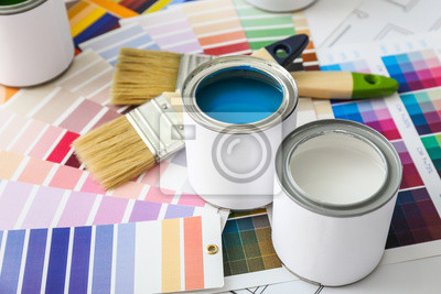 Tapeta Cans of paint with brushes and palette samples