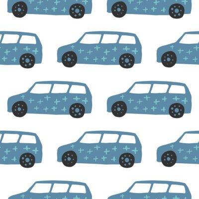 Tapeta Car seamless pattern. Doodle cars vector illustration.