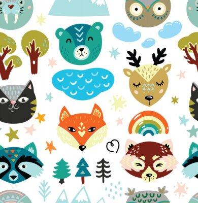 Tapeta Cartoon animals heads and nature elements seamless pattern