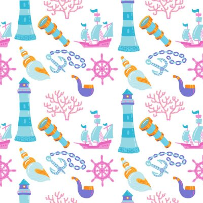 Tapeta Cartoon hand-drawn nautical marine Seamless pattern with hand drawn ship, seashells, lighthouse and ankor. Colorful detailed,with lots of objects funny background.