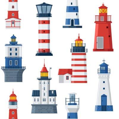 Tapeta Cartoon latarni deseń. Czerwone i niebieskie morze prowadzące domy światła bezszwowe tło. Faraksy morskie lub tło morskie beacon. Wieże reflektorów wektora różnych typów.