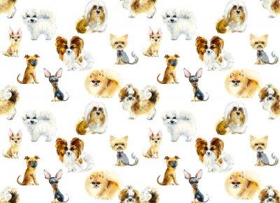 Tapeta Cartoon small dogs. Seamless pattern. Watercolor hand drawn illustration