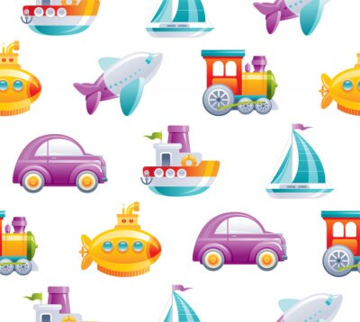 Tapeta Cartoon toy transport seamless pattern. Cute 3d boy style. Boat, car, airplane, yellow submarine, sail ship, train, rocket wallpaper design. Flat vector illustration isolated on white background.