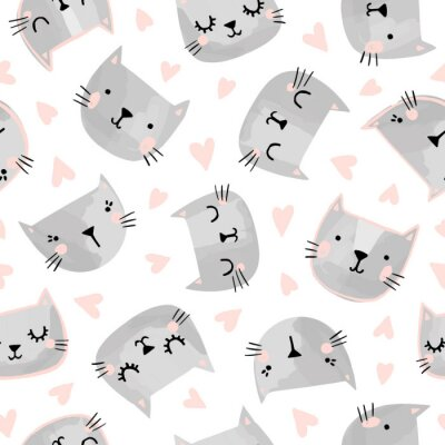 Tapeta Cats seamless vector pattern with hearts. Cute hand drawn kitten faces. Valentines day.