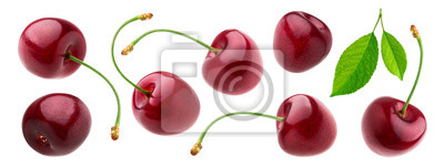 Tapeta Cherry isolated on white background with clipping path, fresh cherries with stems and leaves