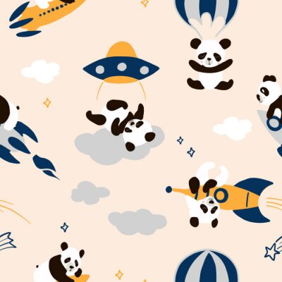 Tapeta Childish seamless panda pattern with hand drawn space elements space, rocket, star, ufo, parachute. Cute bear flying in sky  nursery , unusual wrapping paper. Scandinavian style decorative print