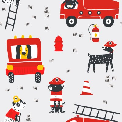Tapeta Childish seamless pattern with fire dogs . Trendy scandinavian vector background. Perfect for kids apparel,fabric, textile, nursery decoration,wrapping paper