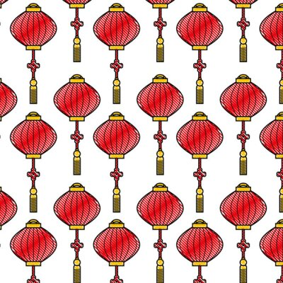 Tapeta chiński latarniowy wzór piękna dekoracja wektoru ilustracja