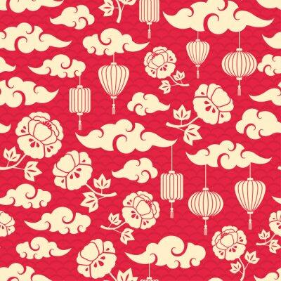 Tapeta Chiński Seamless Pattern z chmury