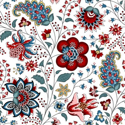 Tapeta Chintz seamless pattern. Floral background. Indian Fabric with red and blue flowers