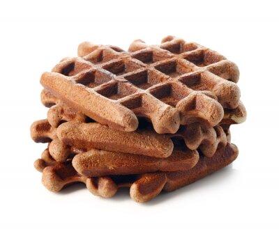 Chocolate belgium waffles on white background