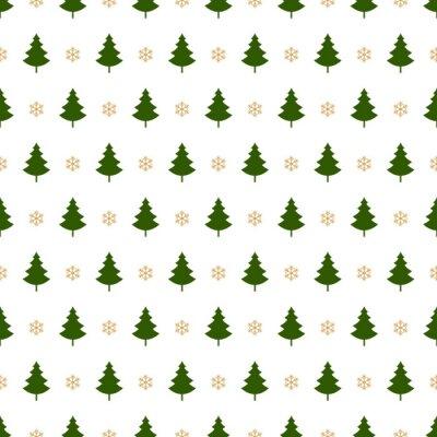 Tapeta choinki śnieżynkami szwu wzór karty na białym tle