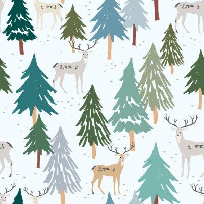 Tapeta Christmas seamless pattern, white background. Forest deer, green fir, spruce trees. Vector illustration. Nature design. Season greeting digital paper. Winter Xmas holidays. Cute woodland animals