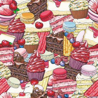 Tapeta Ciasta i ciasteczka wzór w stylu szkicu. Piękne tło z ręcznie rysowane desery z owocami i jagodami - jasne kolorowe tekstury ze słodkich produktów piekarniczych.