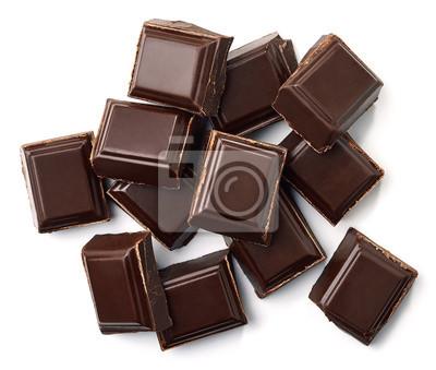 Ciemne kawałki czekolady widok z góry