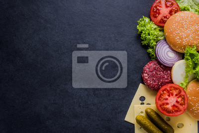 Tapeta Ciemny menu restauracji, składniki Burger and copy space