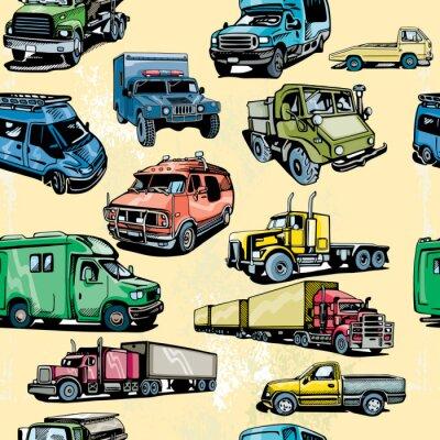 Tapeta Ciężarowy bezszwowy wzór. Tło transportu