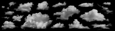 Tapeta Clouds set isolated on black background. White cloudiness, mist or smog background. Collection of different clouds.